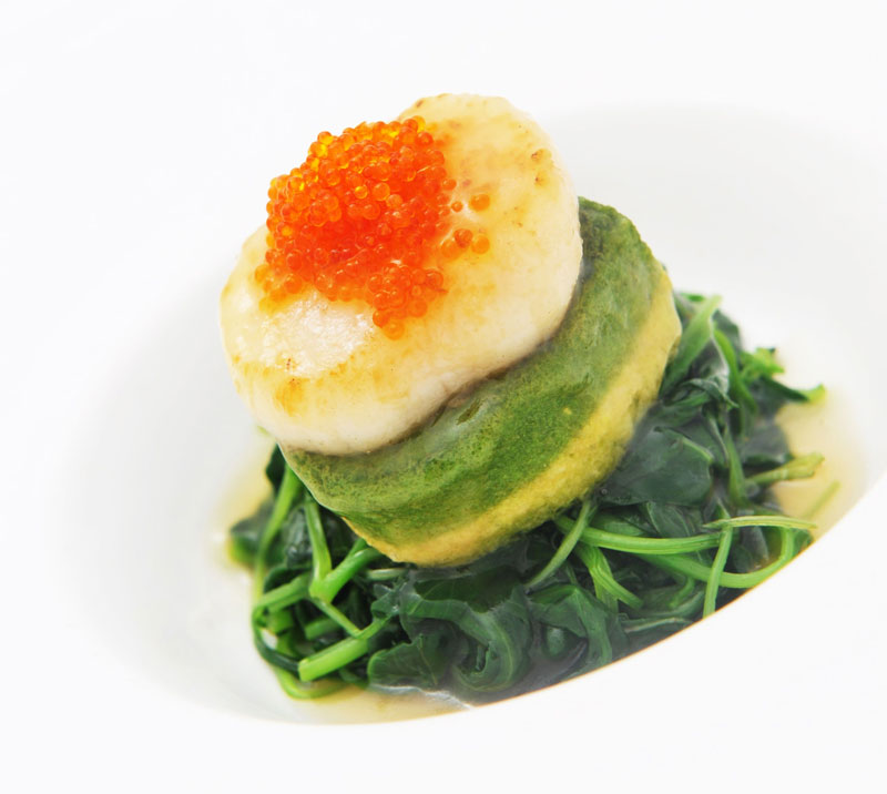 Braised Homemade Emerald Beancurd with Seasonal Greens topped with Pan-Fried Scallops