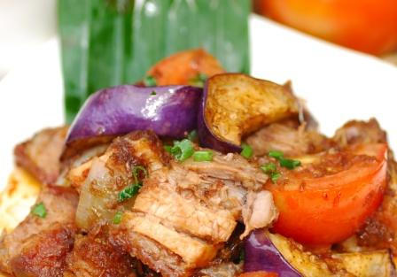 Roasted Pork Belly Stewed in Filipino Shrimp Paste with Vegetables