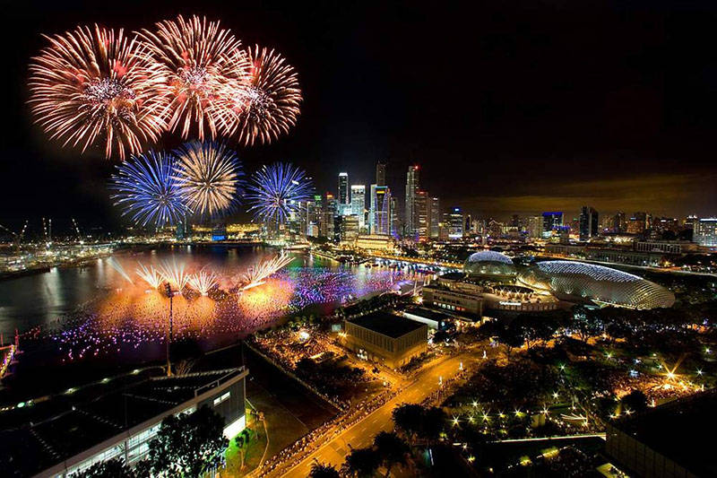 NYE fireworks at the Marina, Singapore
